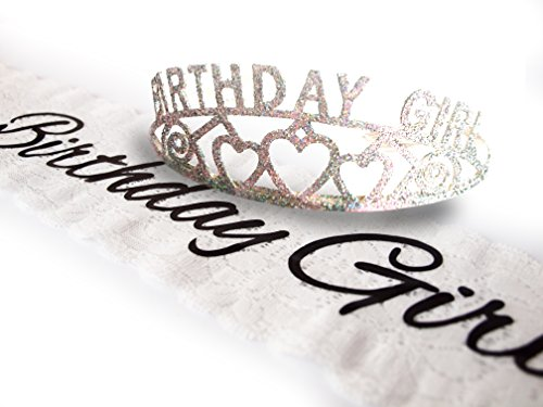 Birthday Girl Tiara (Elegant Birthday Girl Lace Sash and Glitter Tiara by Express Novelties Online)