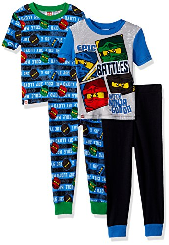 LEGO Big Boys Ninjago Epic Battle 4pc Pajama, 2sets Sleeve, Long Pant