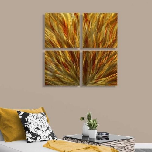 Amber & Gold Contemporary Abstract Metal Wall Art Hanging - Home Accent, Home Decor,