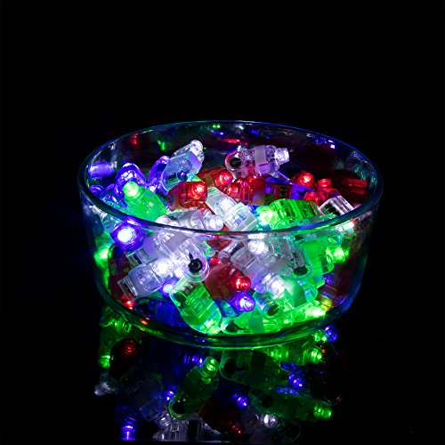 100 Pack LED Finger Light Party Supplies – Glow in the Dark Party Favors for Kids & Adults (Bulk Toys Pack: 25 Each in Red, White, Blue & Green)