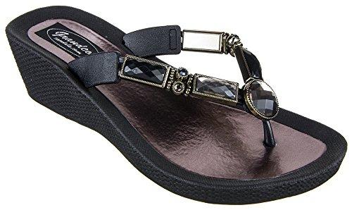 (Grandco Women's Bamboo Wedge Thong Black Sandal 7 M)