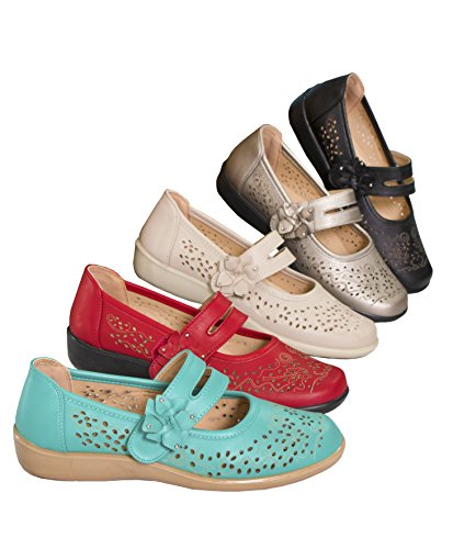Fashion Friendly Ladies One Touch Fastening Summer Shoe Red PRdEOHnM