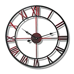 Wall Clock Nordic Modern Minimalist 19-inch Wrought Iron Silent Roman Digital Living Room Bedroom Coffee Shop Fashion Ornaments (Color : Wine red)