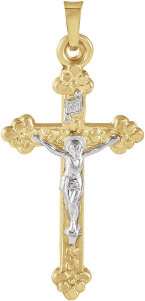 Jewels By Lux 14K Yellow and White Two Tone Gold 28x17mm Hollow Crucifix Pendant
