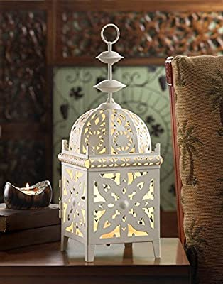 White Medallion Electric Table Lamp Lantern Design