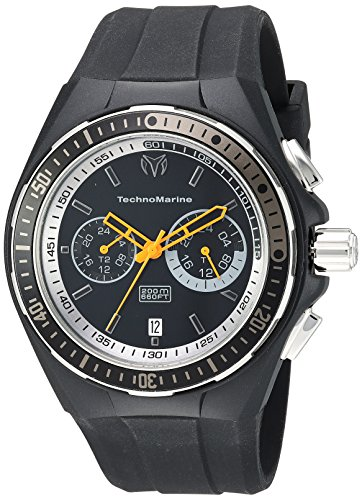 Technomarine Men's 'Cruise' Quartz Stainless Steel and Silicone Casual Watch, Color:Black (Model: TM-115331) (Steel Stainless Chronograph Technomarine New)