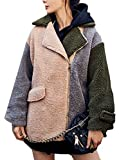 M&S&W Women's Fashion Lapel Lambswool Long Sleeve Loose Coat Khaki S
