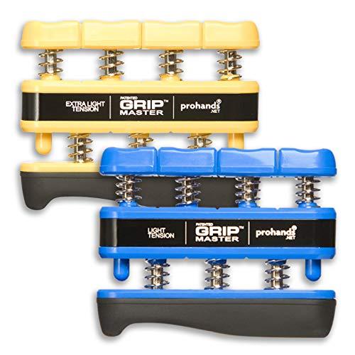 Prohands Gripmaster Hand Exerciser, Finger Exerciser (Hand Grip Strengthener), Spring-Loaded, Finger-Piston System, Isolate and Exercise Each Finger, (Set of 2) (Yellow, Blue)