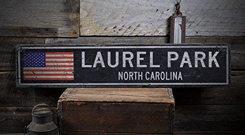 LAUREL PARK, NORTH CAROLINA - Rustic Hand-Made Vintage Distressed Wooden US Flag Sign - 5.5 x 24 - Laurel Park Place