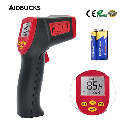 Digital Infrared Thermometer Aidbucks A530 Non-contact Kitchen Thermometer Temperature Gun Laser Point -32℃ to 530℃ with HD Backlight LCD Display Accuracy Reading for Cooking/Air/Refrigerator/Freezer
