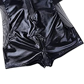 - 519oVbTy3pL - CHICTRY Men's Wet Look Black Leather Bodysuit Catsuit Mesh Splice Clubwear Costumes