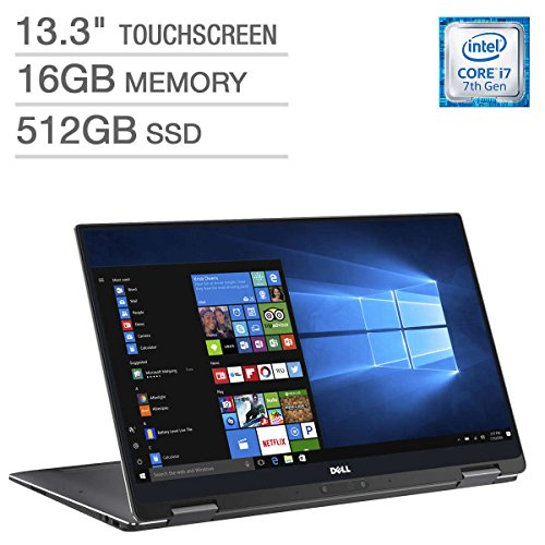 2018 Newest Dell XPS 13.3 inch 2-in-1 Laptop Computer with QHD (3200 x 1800) InfinityEdge Touchscreen, i7 Processor, 16GB RAM, 512GB SSD, 4-cell 46WHr (up to 15 hours), Bluetooth 4.2, Windows 10