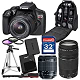 Canon Rebel T6 DSLR 18mp WiFi Enabled + EF-S 18-55mm IS II Zoom Lens +EF 75-300mm III Telephoto Lens, Professional Backpack Case + 32GB Class 10 Ultra High Speed Memory Card + Floor Standing Tripod