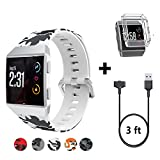 white goods voltage regulator - HK Replacement for Fitbit Ionic Bands Black and White + Charger Cable Cord + Shock Proof Case Protector
