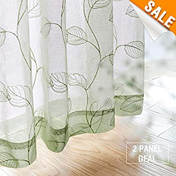Amazon Com Embroidered Sheer Curtains For Living Room