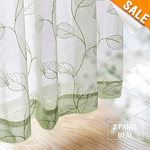 Embroidered Sheer Curtains for Living Room Leaf Window Curtains Botanical Geometric Semi-Sheer Curtains for Bedroom 1 Pair,84