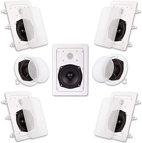Acoustic Audio HT-57 In Wall In Ceiling 1400 Watt House Theater 7 Speaker System