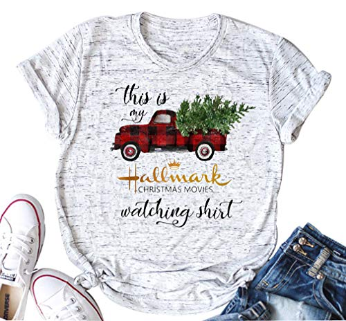This is My Hallmark Christmas Movie Watching T Shirts Cute Christmas Tree Red Truck Plaid Vintage Short Sleeve Tee Tops (Medium, White) Christmas Tree White T-shirt