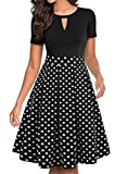 YATHON Dresses for Women Vintage Black Dot Front O V-Neck Fall Pleated Pockets Party Cocktail Business Swing Casual Wear to Work Dresses (S, YT018-Black Dot)