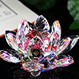 BaZhaHei Crystal Lotus Glass Figure Paperweight Ornament Home Decor Collection Retro Garden Living Room Bed Art Adornment