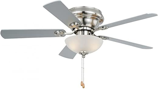 VAXCEL F0023 Flush Mount, 5 Satin Nickel Blades Ceiling fan with 13 watts light, Satin Nickel Finish
