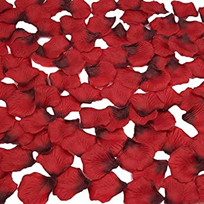 obmwang 2000 PCS Dark Silk Rose Petals Wedding Flower Decoration
