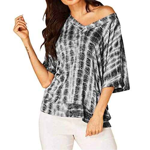 12 Ounce Pullover - Women Summer T-Shirt, LIM&Shop  Short Sleeves Casual Top Black Shirt Dye Blouse Flowy V-Neck Loose Tunic Pullover