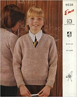 Emu Knitting Pattern 6538 : Childrens Classic DK or 4ply Sweater (26-36in)