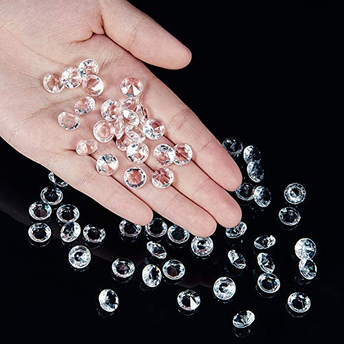 OUTUXED 1000pcs Clear Wedding Table Scattering Crystals Acrylic Diamonds Wedding Bridal Shower Party Decorations Vase Fillers 10mm with 1 Large Velvet Pouch