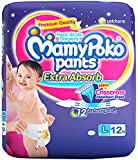 MamyPoko Pants Extra Absorb Diapers, Large (Pack of 12)