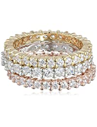 Three Sterling Silver and Cubic Zirconia Stacking All-Around Bands