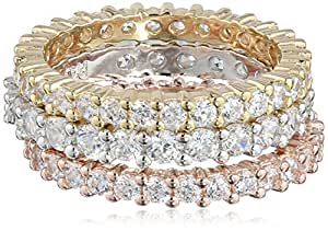 Three Rhodium, 18k Yellow Gold and Rose Gold Plated Sterling Silver Three-Tone Cubic Zirconia All-Around Bands Stackable Ring, Size 6