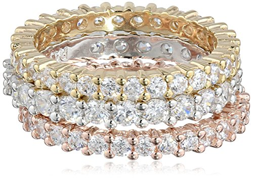 Tri-Tone Sterling Silver Cubic Zirconia All-Around Band Stacking Ring Set (Set of 3), Size 7