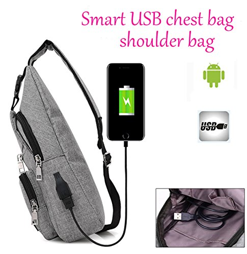 Modern Unisex Black Shoulder Cross Usb Bag Nylon With Multi Port Chest Body Pockets Super Cool Raqgwpxp