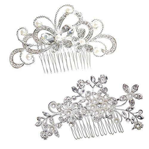 yueton Pack of 2 Bridal Wedding Silver Crystal Rhinestones Pearls Women Hair Comb - Elegant Butterfly Rhinestones
