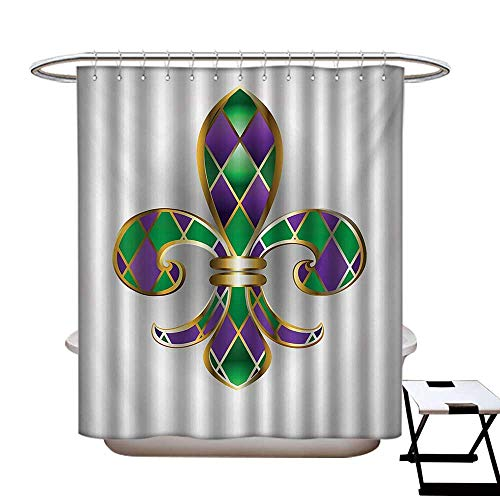 BlountDecor Fleur De Lis Shower Curtains 3D Digital Printing Golden Yellow Colored Lily Symbol with Diamond Shapes Royalty Theme Ancient Custom Made Shower Curtain W48 x L72 Purple Green
