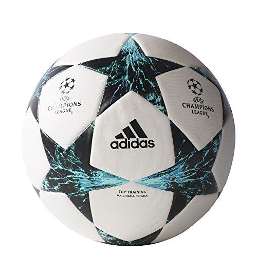 adidas Performance Champion's League Finale Top Training Soccer Ball, White/Core Black/Dark Green/Blue/Aqua, 5 (Adidas Finale Ball)