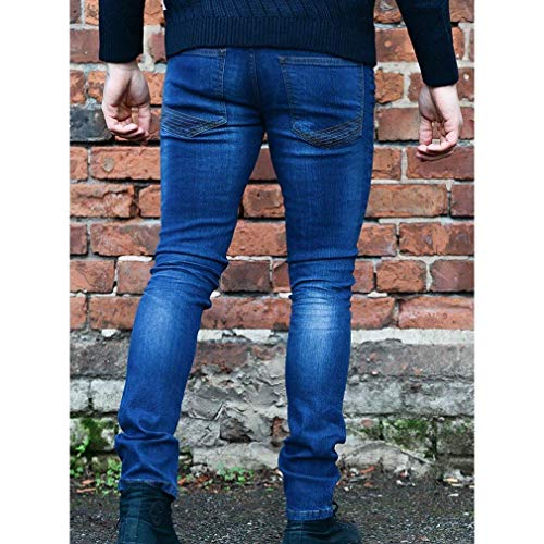 Uomo Estilo Jeans Nero Stretch Pantaloni Strappati Scuro Lucido Skinny Denim Vintage Blu Especial dA6AwqfyRO