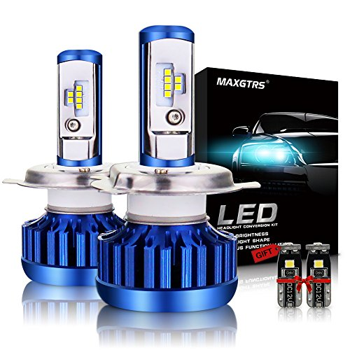 MAXGTRS H4(9003) LED Headlight Bulb All-in-One Conversion Kit 9000LM 6000K 70W Cool White CSP Chips Hi/Lo Light Headlamps -2 Yr Warranty