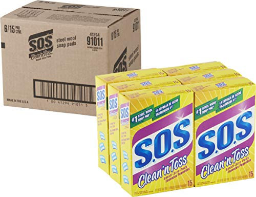 S.O.S Clean n Toss Steel Wool Soap Pads, 15 Count, 6 Boxes/Case (91011)