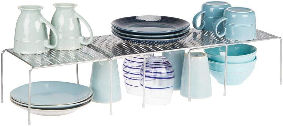 argento Ideale per ottimizzare gli spazi e sfruttare ogni centimetro Scaffale cucina salvaspazio mDesign Porta piatti e Porta stoviglie allungabile