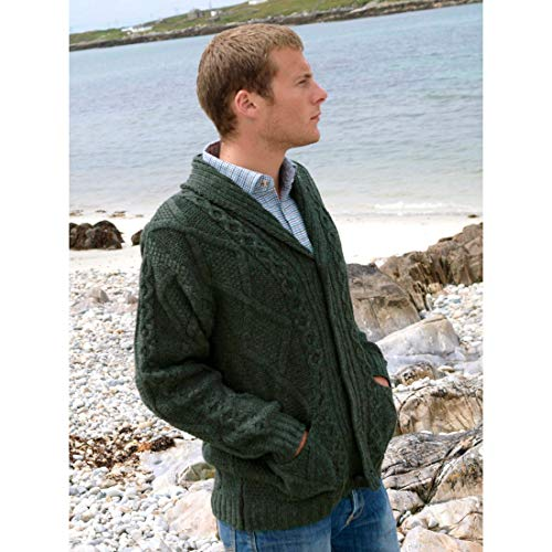 Shawl Collar Grandfather Cardigan - Green Wool 100%