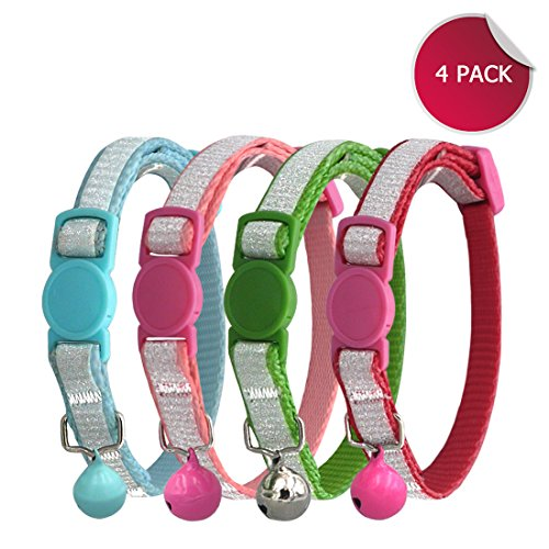 (azuza Breakaway Cat Collar with Bell, Quick Release Safe Buckle Cat Collar, Glitter Printing, Pack of 4)