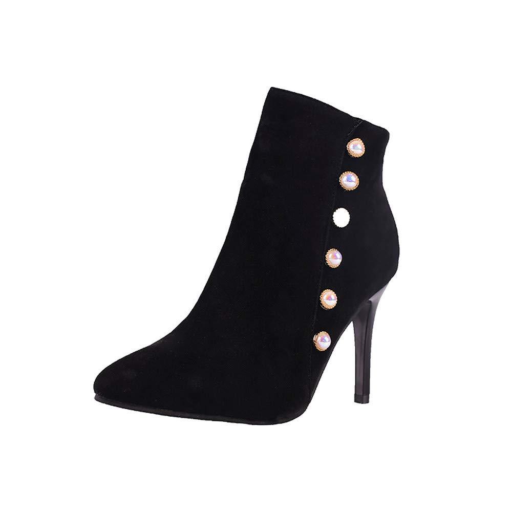 OHQ Botas Martin Mujeres Invierno Ocio Zapatos De Perlas Antideslizantes con Cordones De Tacó N Fino Tubo Corto Botines Martin Zapatos Negro Rojo Beige Azul