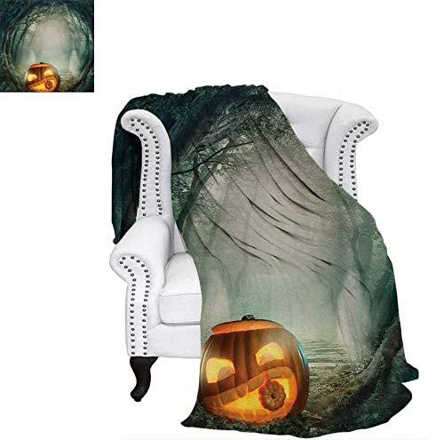(Custom Design Cozy Flannel Blanket Drawing of Scary Halloween Pumpkin Enchanted Forest Mystic Twilight Party Art Lightweight Blanket 70