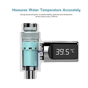 360 Grad Rotation Flow Selbstgenerierende Strom Dusche Thermometer F/ür K/üche Bad Balai Duschthermometer Led-anzeige Celsius Wassertemperatur Meter Monitor