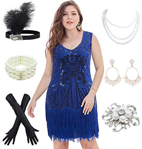 1920s Flapper Plus Size Dresses V Neck Bead Fringed Great Gatsby w/ 20s Accessories Set (XXXL, Blue) ()