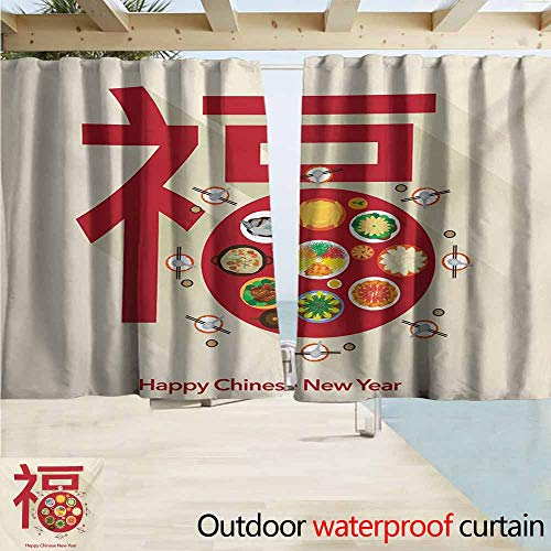 Zmcongz Chinese New Year Outdoor Blackout Curtain Festive Lunar Dinner Table Full of Traditional Food for The Family Reunion Waterproof Patio Door Panel W55 xL63 Multicolor