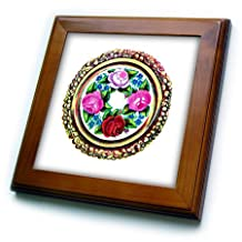 ft_174623_1 Florene - Victorian - image of painted cross stitch embroidery of flowers - Framed Tiles - 8x8 Framed Tile