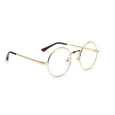 Lunettes de vue femme homme Mode Unisexe monture lunettes ronde métallique  geek rétro vintage lentille claire 24c83e6b60ef